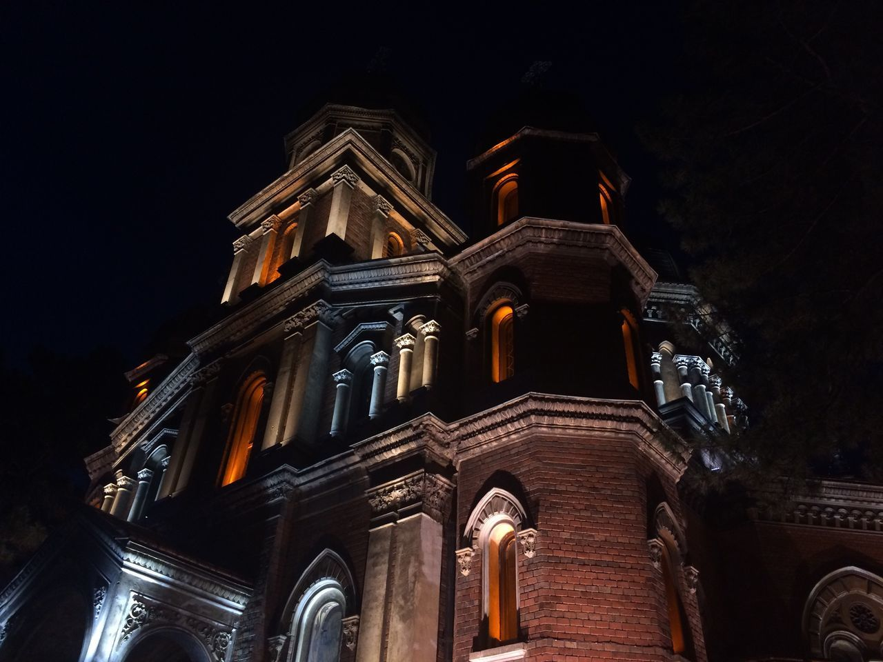 Architecture Religion Place Of Worship Low Angle View Building Exterior Spirituality Built Structure Night History No People Illuminated Outdoors Sky Light And Shadow Church Architecture Church Nightphotography Craiova