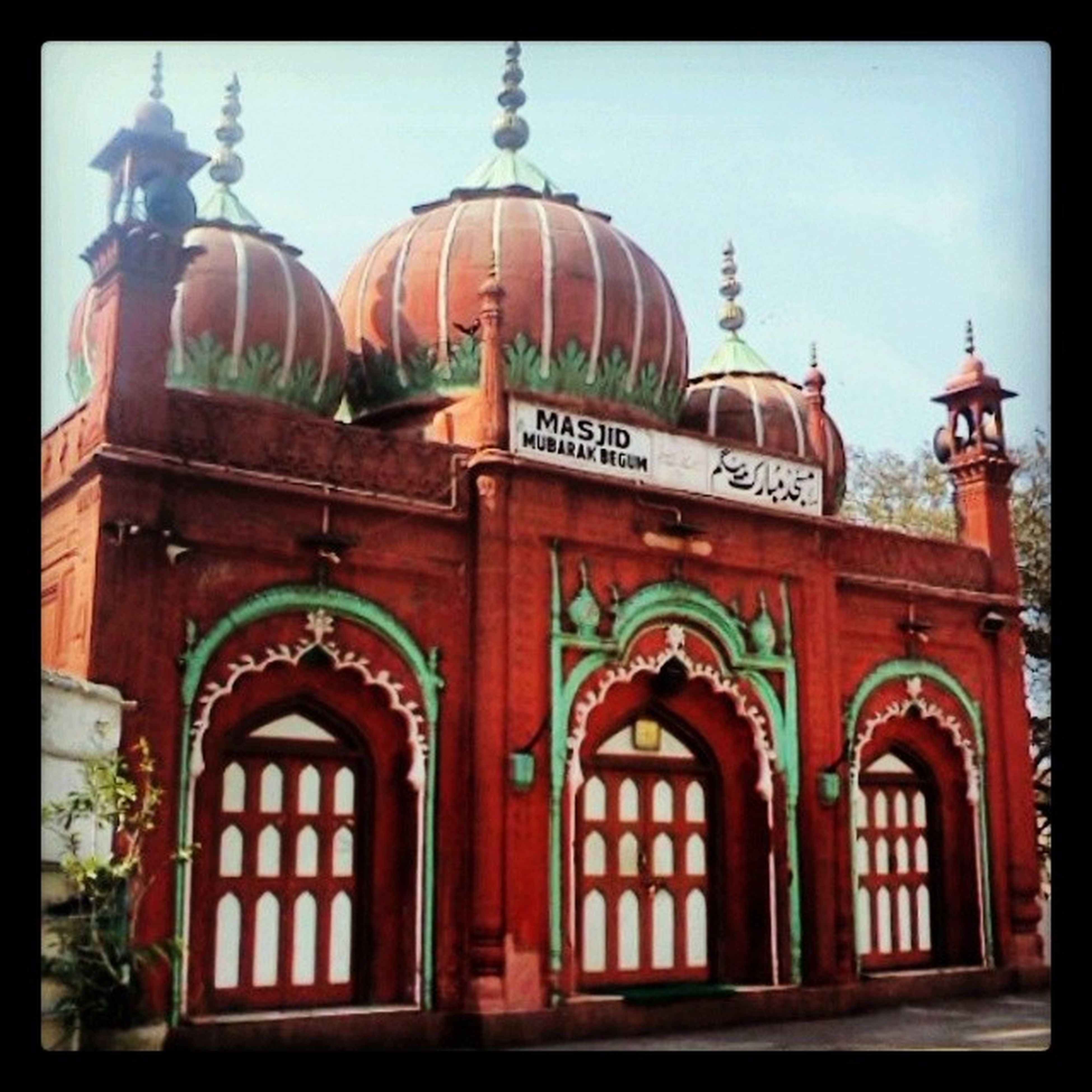 MasjidMubarakBegum , or R**** Ki Masjid. Built in 1823, the Mosque was Named after one of the 13 wives of SirDavidOchterlony , Delhi's first British Resident, who was known for his passion for Nautch Girls, Hukkas and Indian Costumes. MubarakBegum, a Brahmin Dancing girl from Pune, was a convert to Islam. Besides being the favourite wife (some say she was just a mistress) of Sir Ochterlony, It is not clear if the Mosque was commissioned by Mubarak Begum or was built in her honour. It's crudely nicknamed R**** ki Masjid LalKuan olddelhi DelhiHeritage Monument DelhiSecret