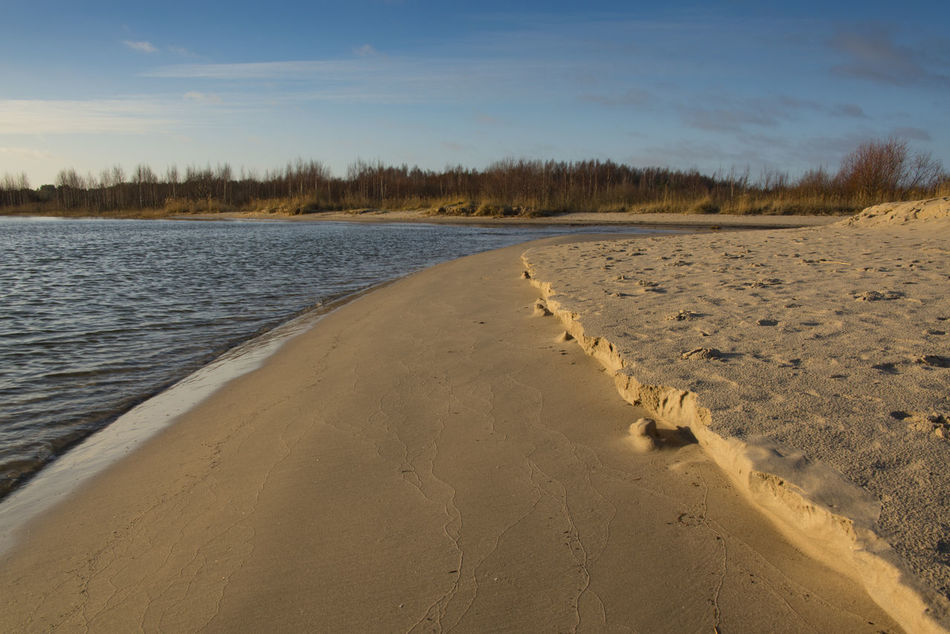 sandy sea shore with waves footprints at sunrise Beauty In Nature Blue Calm Cloud Cloud - Sky Coastline, Forest, Sand, Sea, Shore, Shrubbery, Sunlight, Sunrise Day Horizon Over Land Idyllic Landscape Nature No People Non Urban Scene Non-urban Scene Outdoors Remote Rippled Scenics Sky Tranquil Scene Tranquility Travel Destinations Water