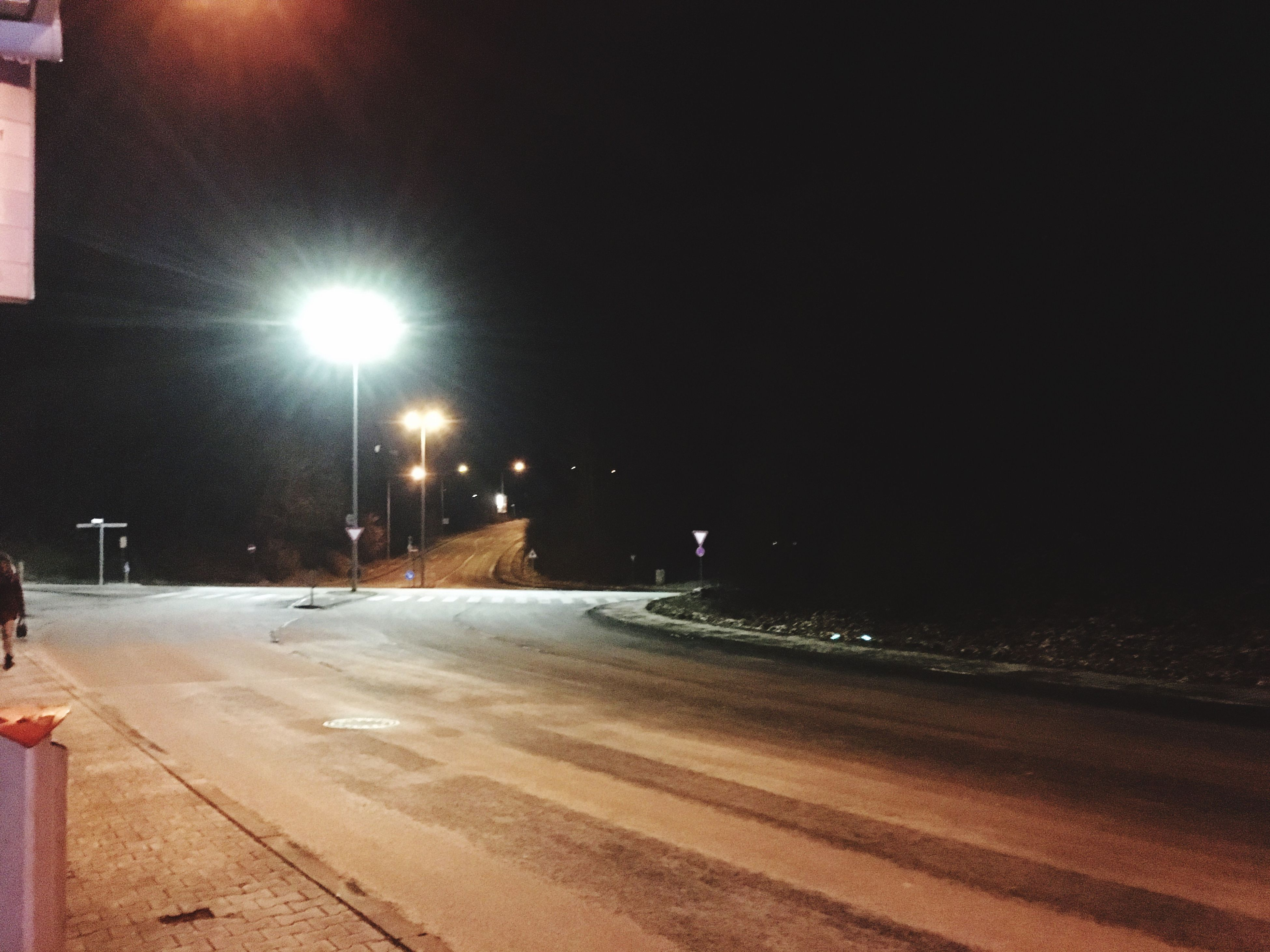 snow, winter, cold temperature, night, street light, illuminated, road, no people, outdoors, nature, snowing, city, sky, beauty in nature, architecture