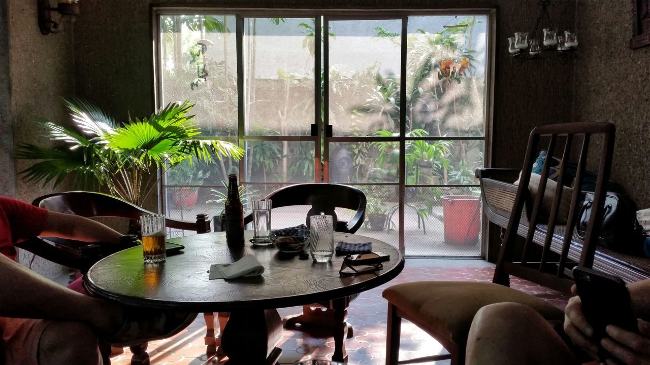 table, indoors, chair, window, plant, home interior, vase, curtain, drinking glass, day, real people, ashtray, seat, architecture, home showcase interior