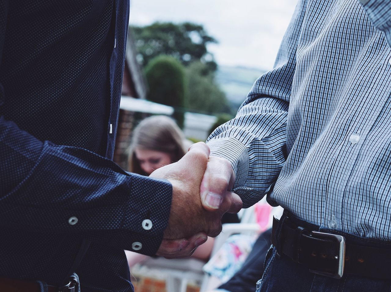 Two People Human Hand Men Togetherness Midsection Day Real People Close-up Human Body Part Well-dressed Adult People Outdoors