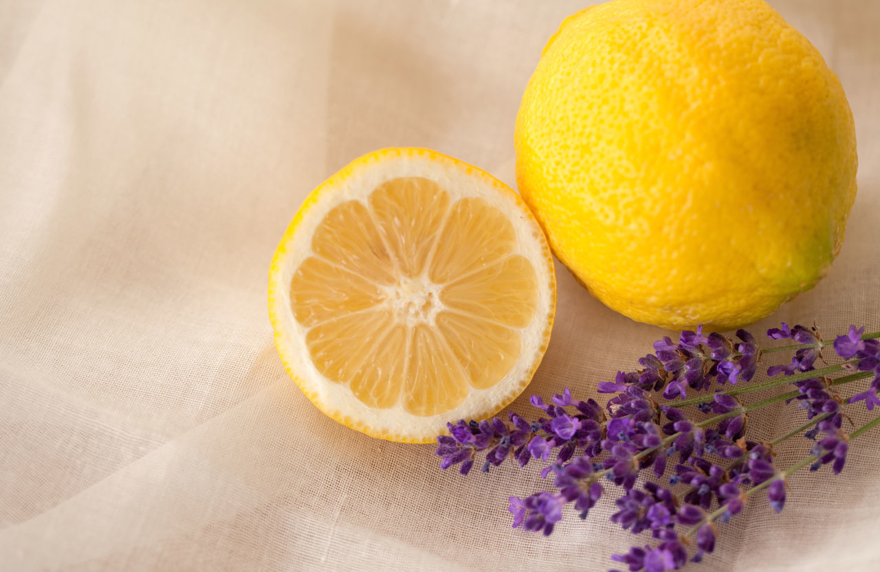 Lavender flower and lemon Aromatherapy Copy Space Wellness Bloom Citrus Fruit Close-up Day Fabric Background Flower Food Food And Drink Freshness Fruit Half Healthy Eating Healthy Lifestyle Indoors  Lemon No People Odor Purple Purple Flower Spa White Background Yellow