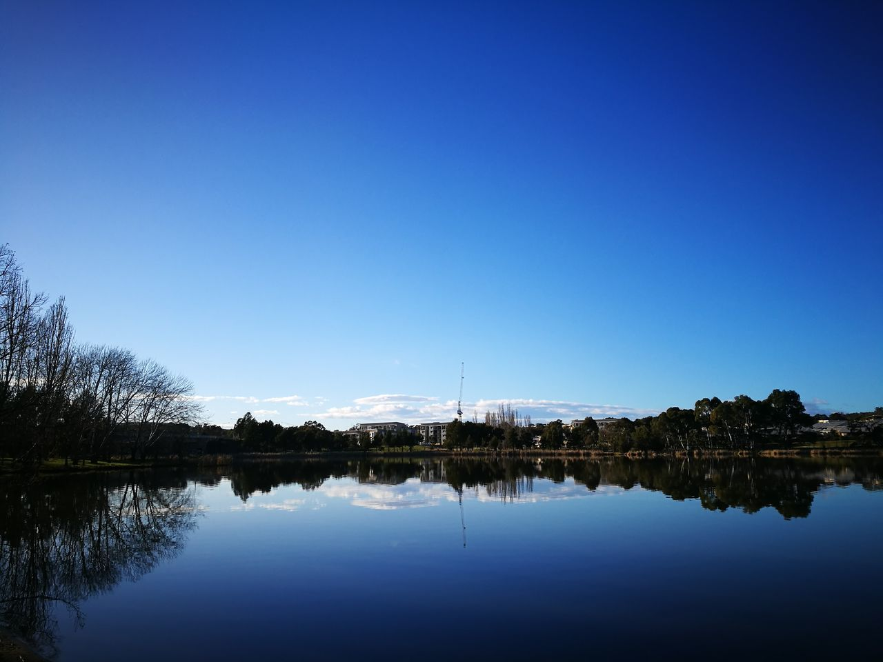 reflection, water, lake, tranquil scene, blue, waterfront, nature, beauty in nature, tranquility, clear sky, copy space, standing water, no people, outdoors, scenics, sky, day, tree