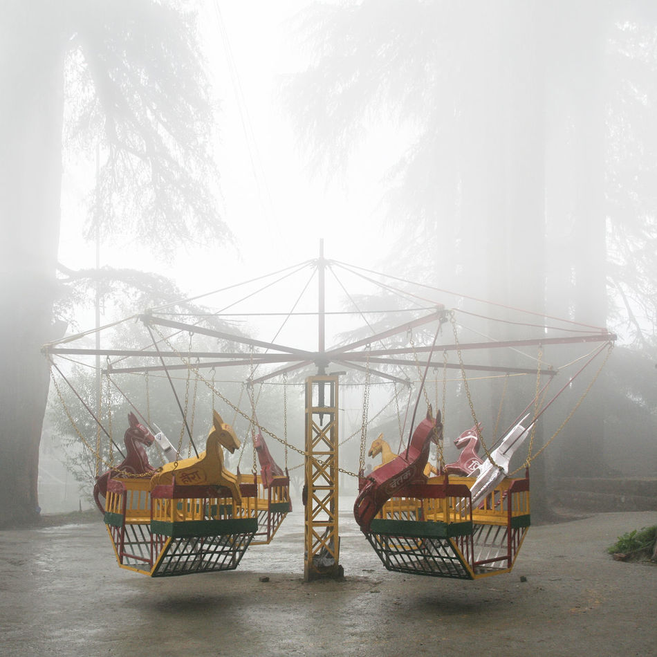 Abandoned Carousel Creepy Day EyeEmNewHere Fog Forest Horses India Loneliness Monsoon Nature Off Season Outdoors People Playground Rainy Days Sky The Secret Spaces