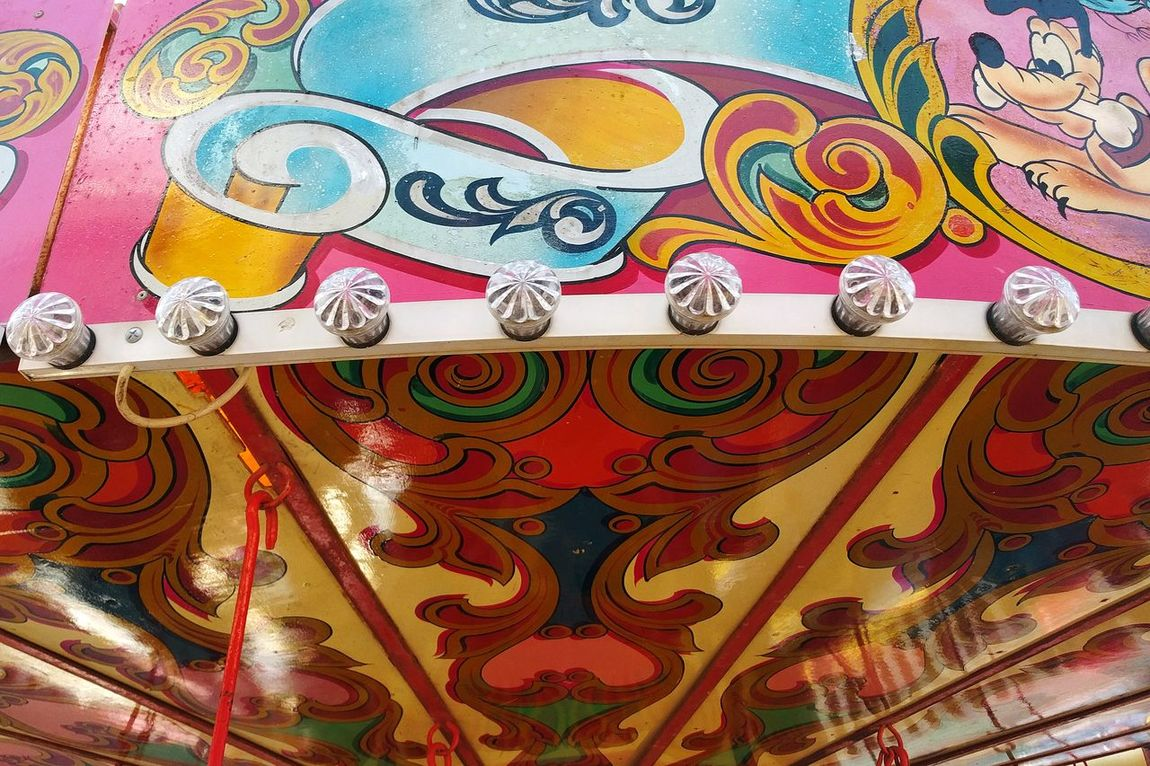 Fairgound Ride Design Multi Colored Pattern Full Frame Backgrounds No People Close-up Day Outdoors Live For The Story British Beaches Colours Merry Go Round Childhood Childhood Memories Nostalgia