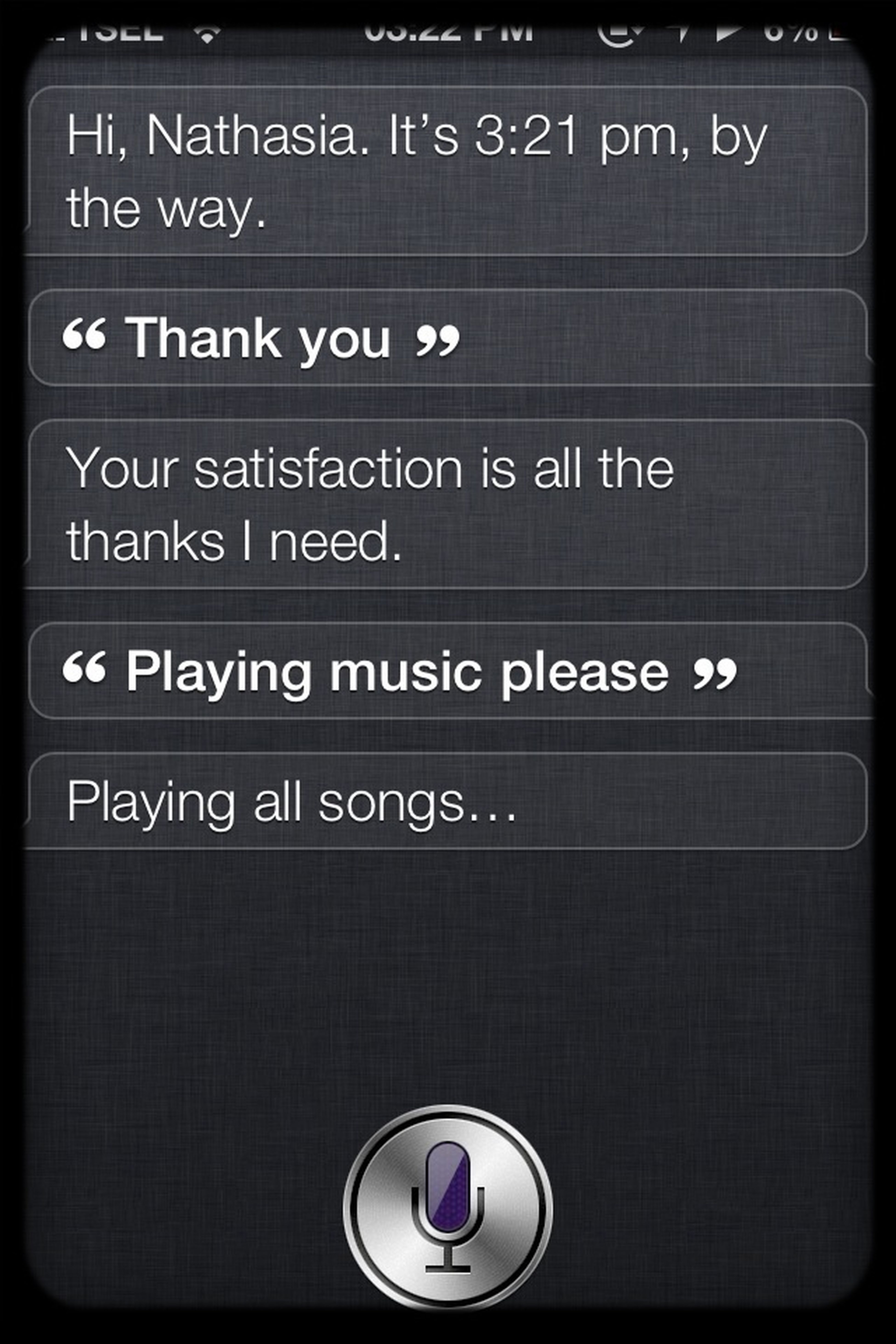 Early chitchat with my Siri