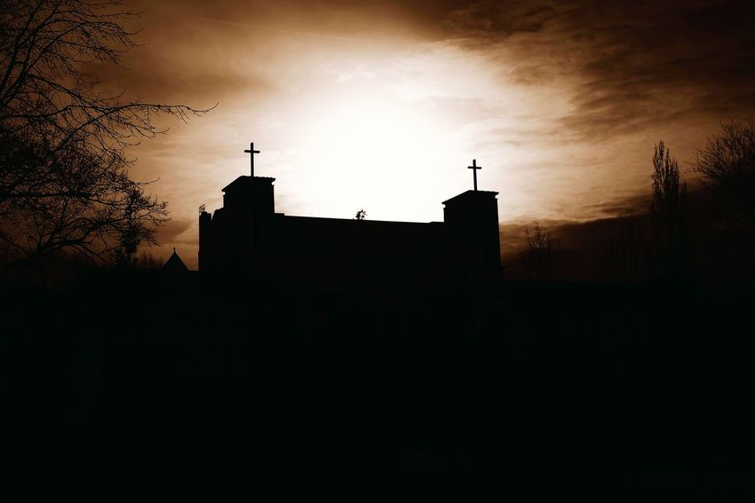 Dramatic Sky Double Cross Church Against The Light Sephia Photo Berlin Photography Berliner Ansichten German Church EyeEm Best Shots EyeEm Gallery Silhouette Sunset Architecture No People Outdoors Building Exterior