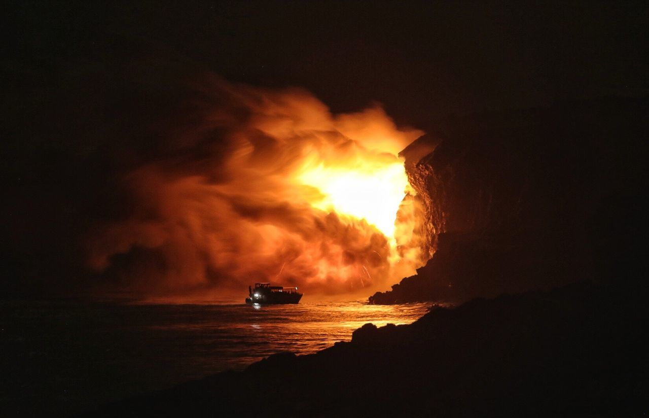 Flame Night Heat - Temperature Burning No People Nature Outdoors Sky Global Warming Volcano Lava Fire Ocean Hawaii Volcano National Park