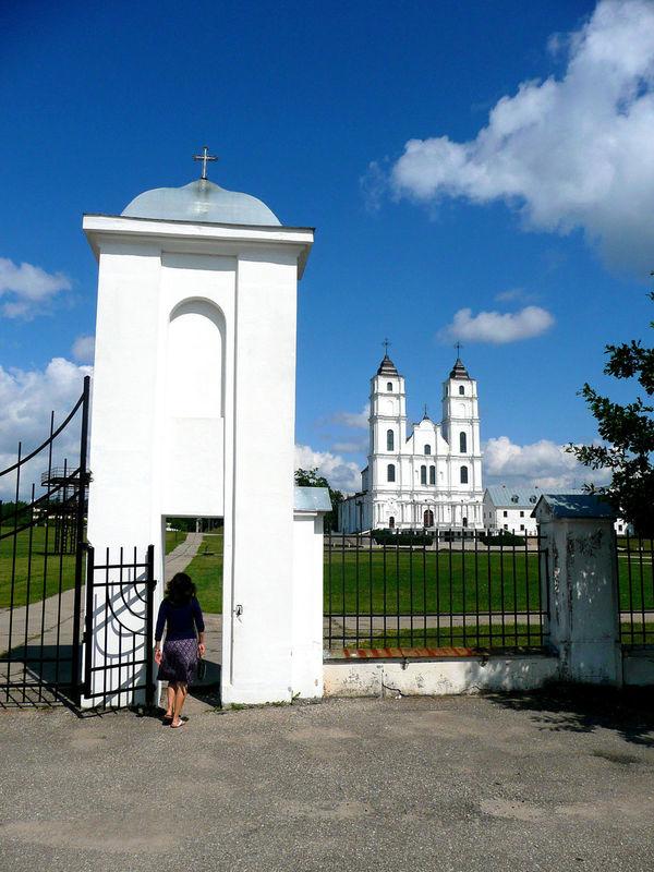 Latgale Latvia Lettland  Latvija Aglonas Bazilika Catholic Church Painting In Progress Aglona Entrance Gate Cathedrale Pilgrimage Cathedral Pilgrims Pilgergang Latvia Riga Pilgrimage Church