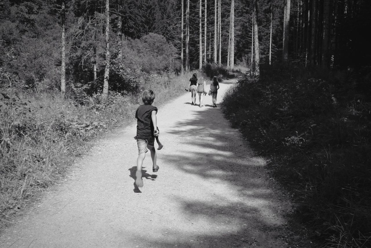 Rear View Of Boy Running On Footpath With Girls Walking In Forest