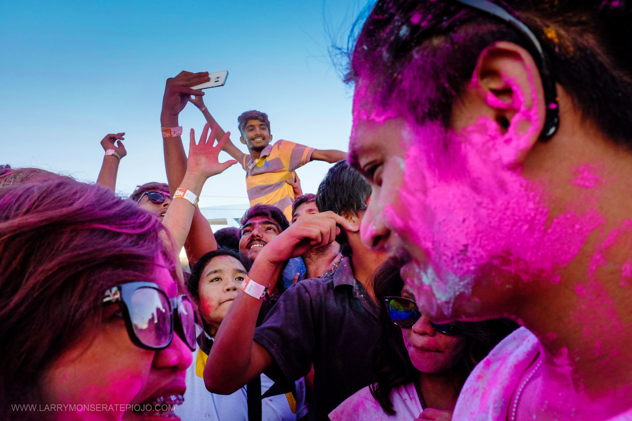 PASAY CITY, Philippines - Manila cebrates the ancient Hindu Festival of colors and of sharing love or simply known as the Holi Festival. It celebrates the turn of winter to spring by throwing special colored powder known as Gulal at one another and up in the air. This symbolizes friendship, unity, and a sense of revelry. | 20 March 2016 | EyeEm Best Shots EyeEm Best Edits EyeEmBestPics Eyeem Philippines Holifestival Holifestivalofcolors Holimnl2016 Everyday Life Everyday People Everybody Street Larry Monserate Piojo Untold Story Up Close Street Photography
