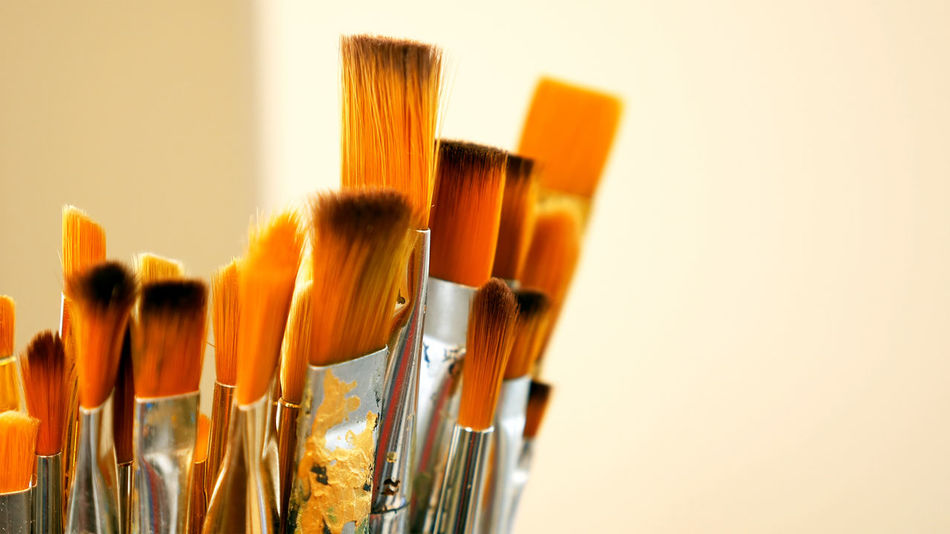 Art Studio Close-up Day Indoors  No People Oil Paint Paint Paintbrush Palette White Background