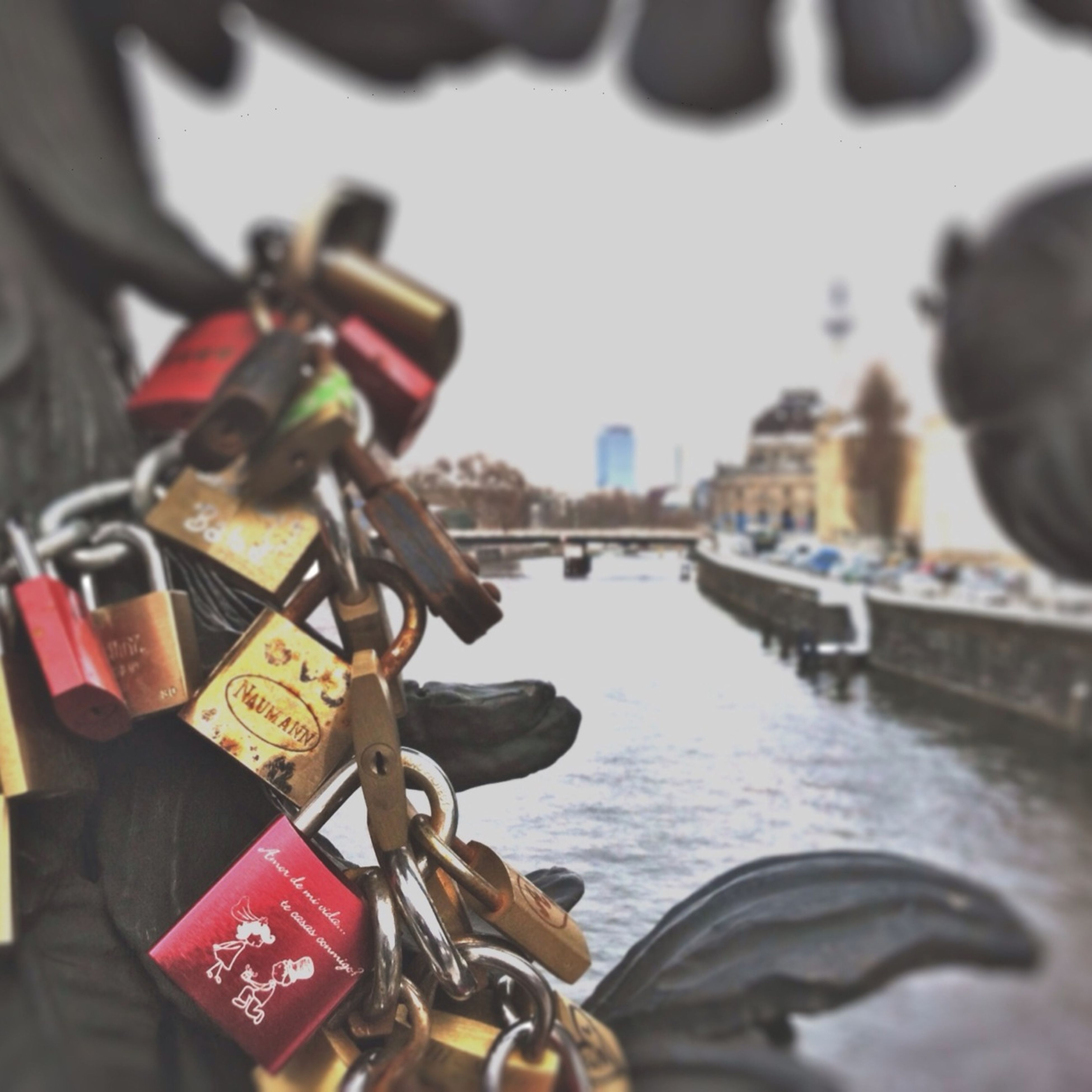 focus on foreground, water, metal, close-up, river, built structure, city, selective focus, padlock, day, metallic, outdoors, connection, art and craft, incidental people, building exterior, railing, architecture, chain, no people