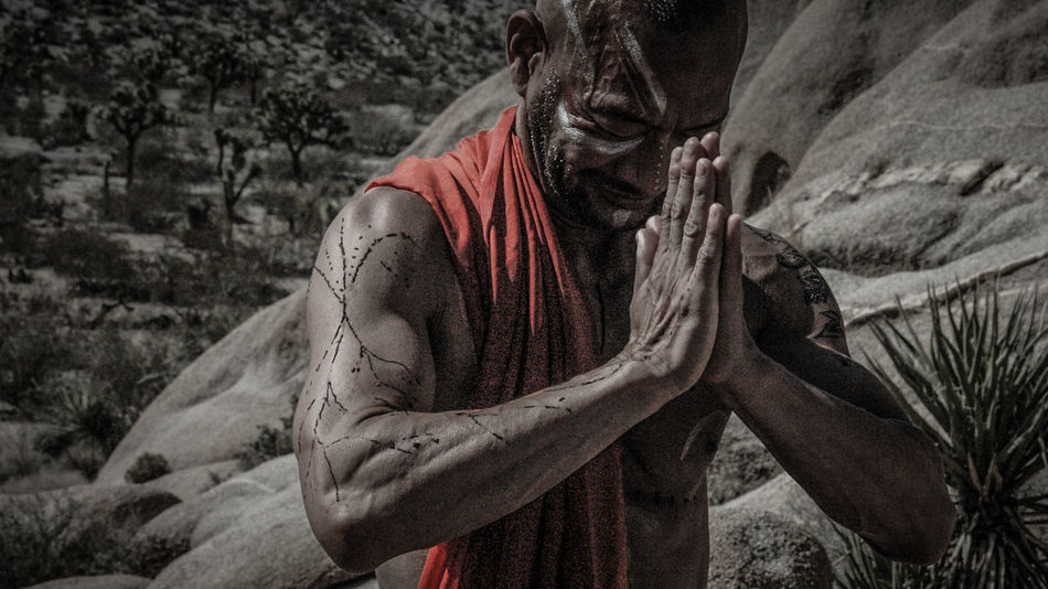 Peaceful Warrior Close-up Day Joshua Tree National Park Man Monk  Outdoors Peaceful Portrait Pray Prayer Praying Spiritual The Portraitist - 20I6 EyeEm Awards Warrior