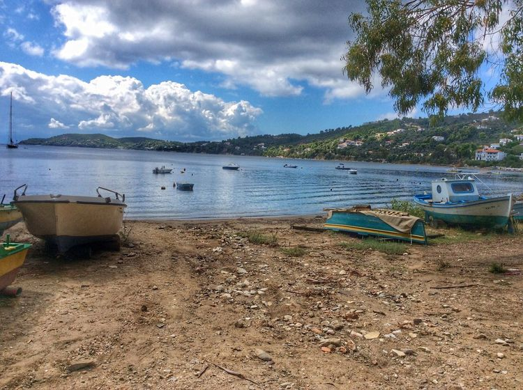 Skiathos Nautical Vessel Boat Water Sky Cloudy Cloud - Sky Shore Day Tranquil Scene Tranquility Blue No People Scenics Sea Beach