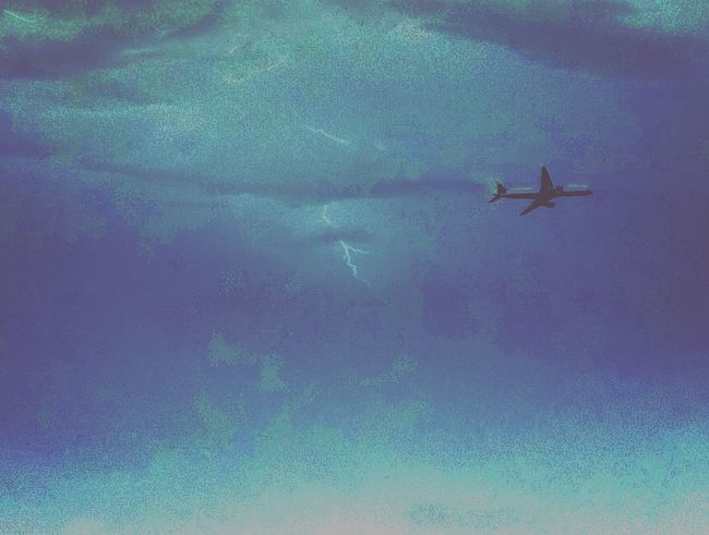 Airplane Shot Stormsky In Flight High Up In The Sky  Eerie Scene Flying Away Sky And Clouds