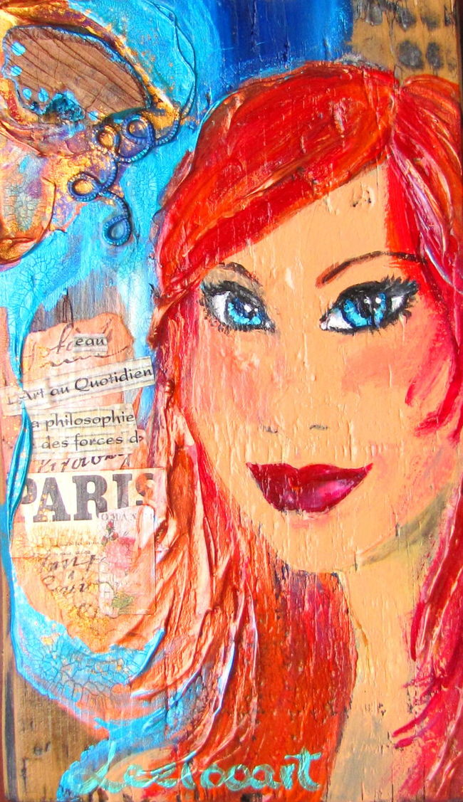 Leelooart.ca * Boutique Leelooart sur Etsy Adult Blue Eyed Girl Blue Eyes Blue Eyes❤ Boutique Leelooart Close-up Colorful Colorfull Contemporary Contemporary Art Contemporaryart Day Leelooart Mixedmedia Only Women Outdoors Paint People Person Portrait Portrait Of A Woman Red Red Hair Red Hair ❤ Vertical