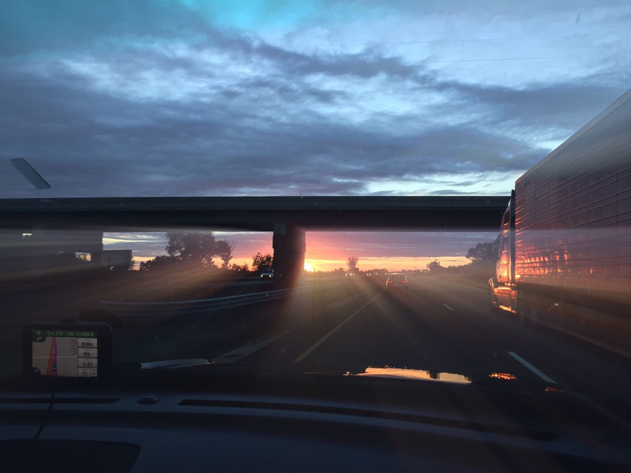 The Drive. The Drive Big Truck On The Road Sunset Sunset_collection Driving Car Ride  Traveling By Car Speed GPS Hoghway Traveling Home For The Holidays Miles Away