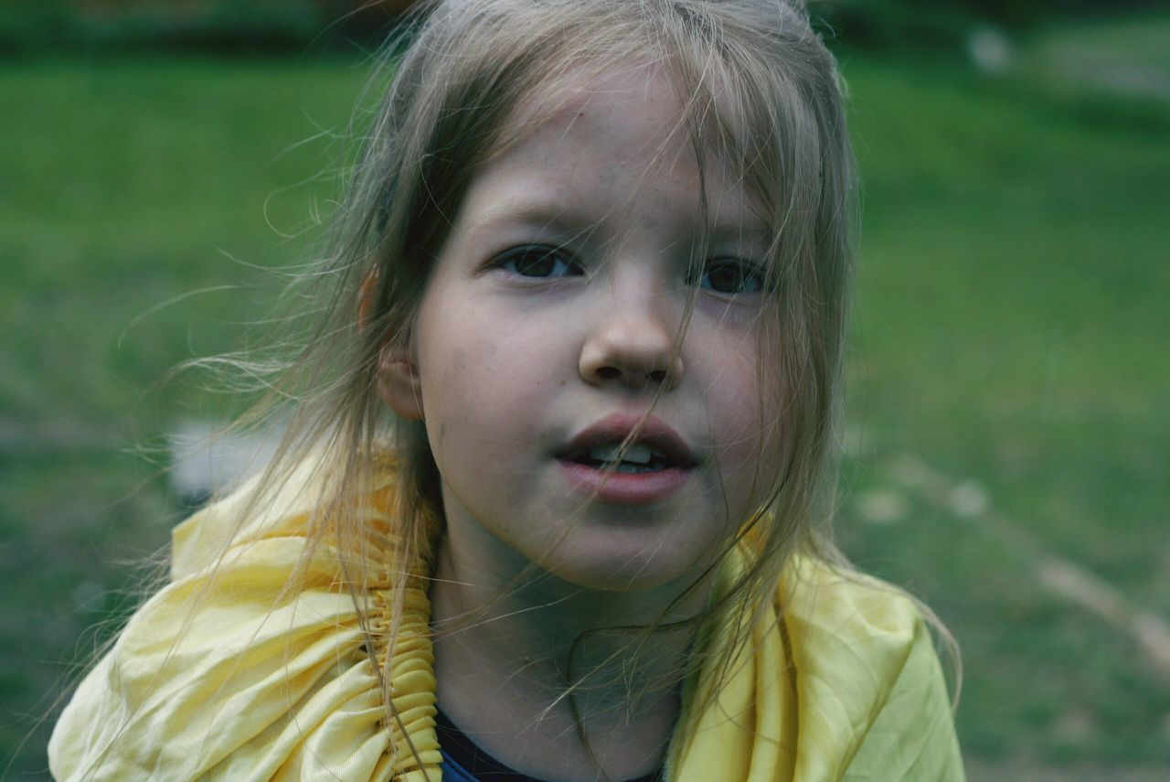 childhood, portrait, one person, blond hair, outdoors, real people, close-up, day