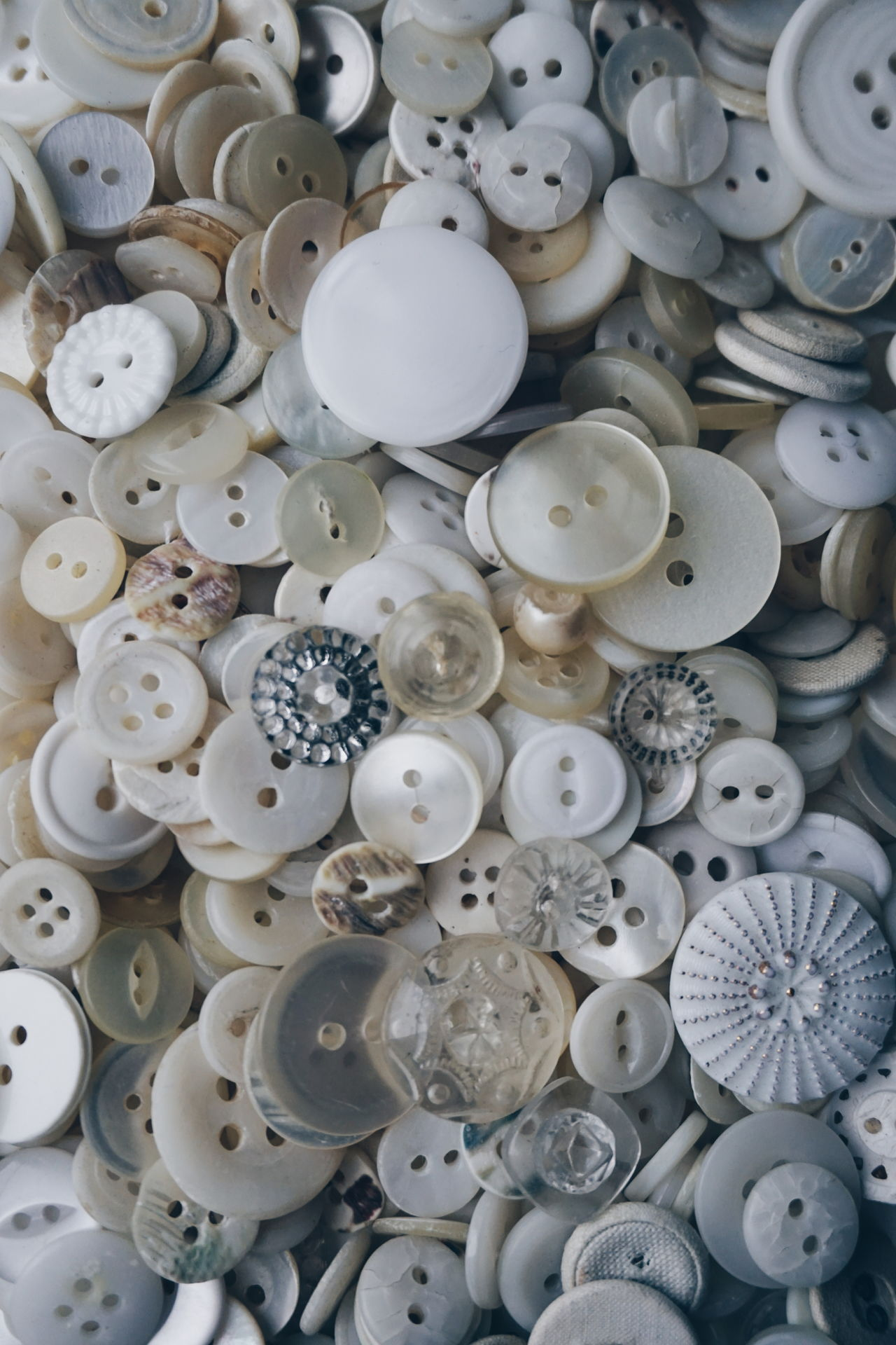 shades of white Backgrounds Full Frame High Angle View Large Group Of Objects Indoors  No People Close-up Day Freshness Shades Of White White Color Shades Buttons Button White Background Texture Indoors  Background Abundance DIY Creativity