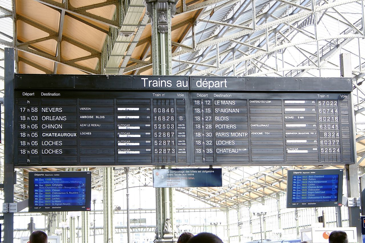 All aboard Architecture Built Structure Business City Life Commercial Sign Communication Departure Times France French Railway French Trains Information Message Message Board Messages Metal Monitors Notice Board Sncf Sncf Technology Text Train Train Station Train Time Table Trains