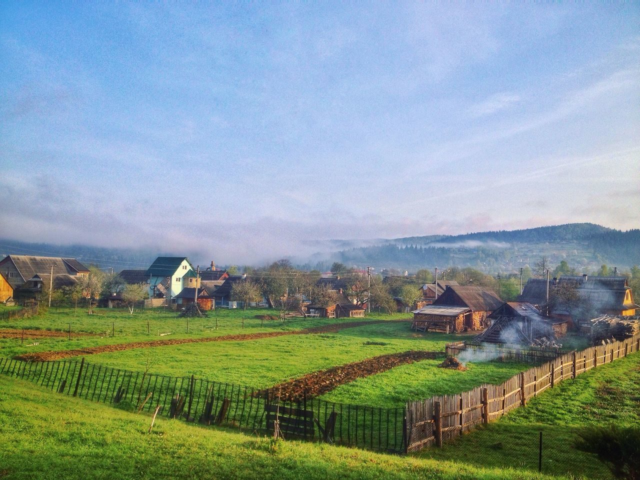 Morning in Karpathian. Field Landscape Rural Scene Farm Scenics Architecture Beauty In Nature Tranquil Scene Nature Tranquility No People Outdoors Built Structure Day Growth Sky Grass Rice Paddy Mountain Karpathian