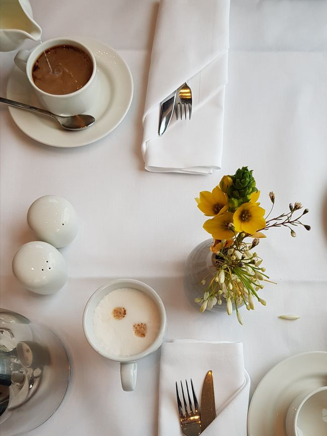 Some milk? Hotel Breakfast Cappuccino Fork & Knife White Salt And Pepper Fresh On Eyeem  Table Directly Above High Angle View Indoors  Flower Food And Drink No People Drink Coffee - Drink Celebration Freshness Day Sweet Food Flower Head Ready-to-eat