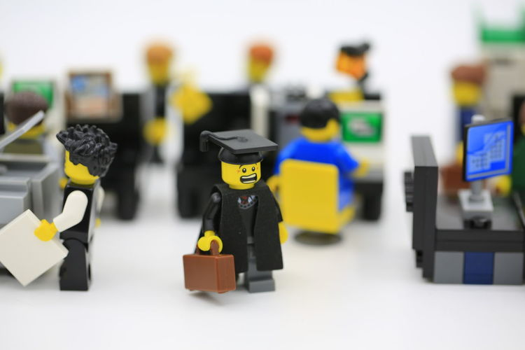 lego scenes: new guy in office Graduation LEGO Man Manhattan Office Office Boys People Watching Scenes Work Worker Working Employment First Grade Graduate Islolated Job Lego Minifigures Legophotography Lifestyles Men Minifigure, New Work Occupation People Young Adult