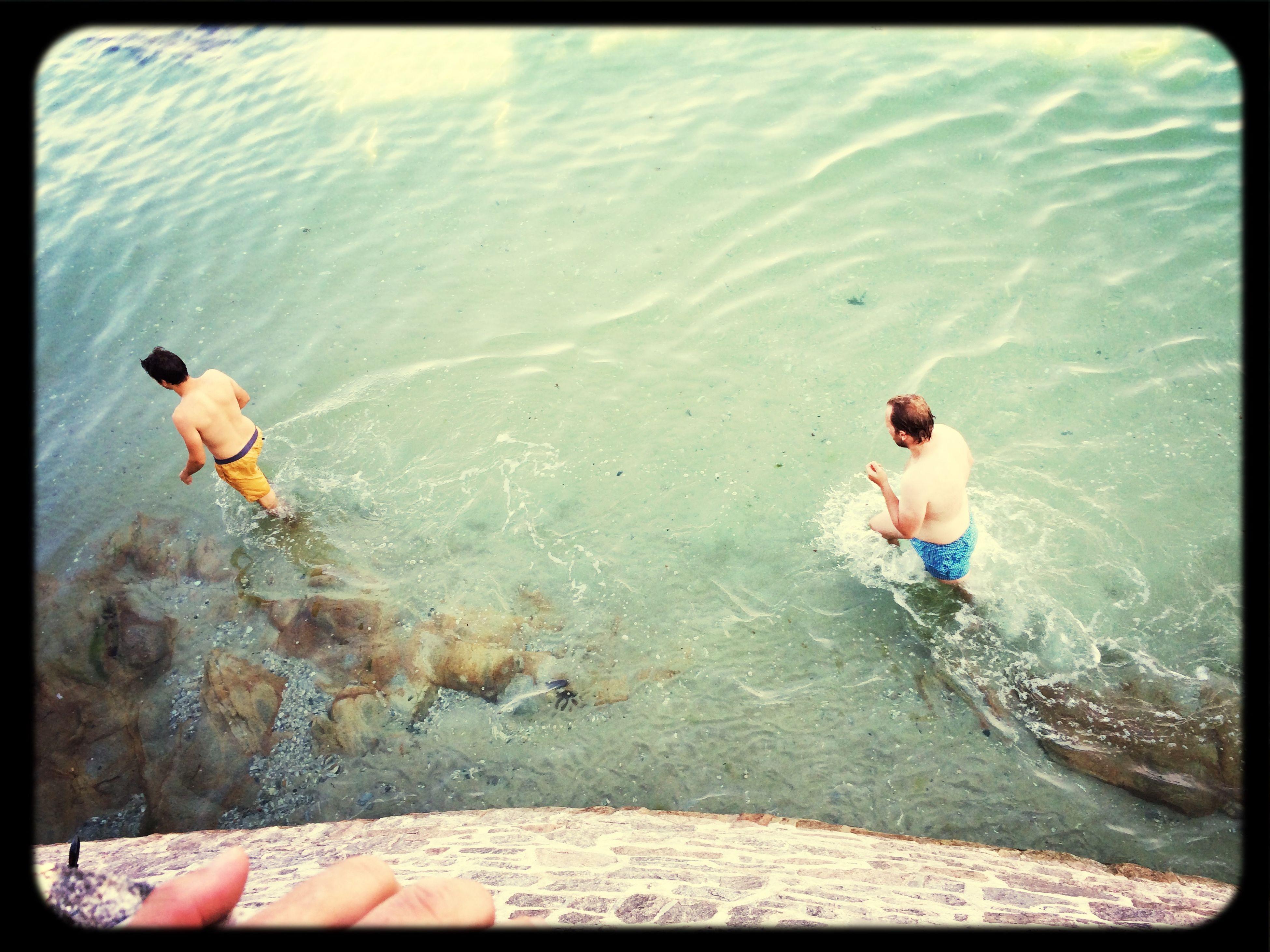 water, lifestyles, leisure activity, transfer print, auto post production filter, sea, full length, enjoyment, barefoot, fun, vacations, men, person, jumping, swimming pool, bikini, shirtless