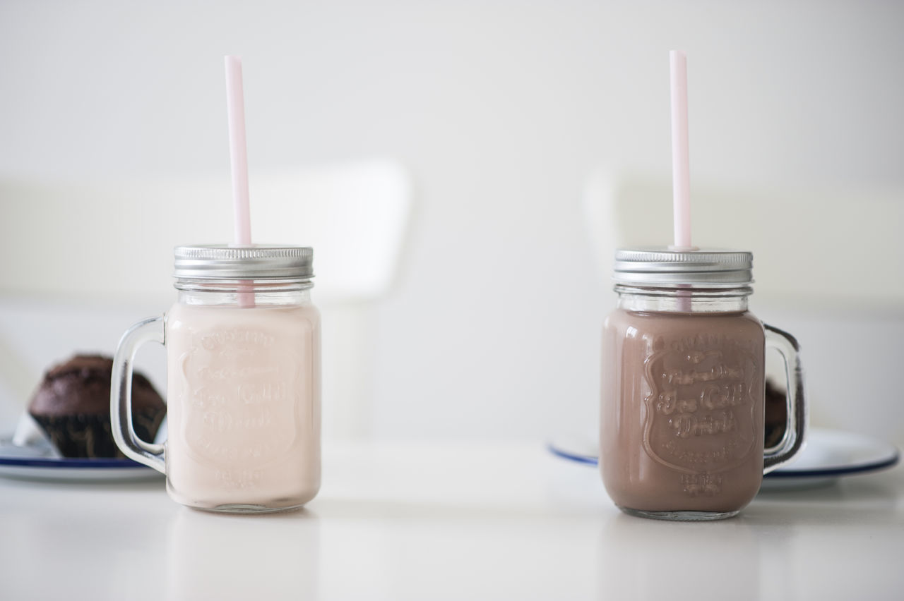 Close-up Day Drink Drinking Straw Food Food And Drink Indoors  Jar No People Table White Color