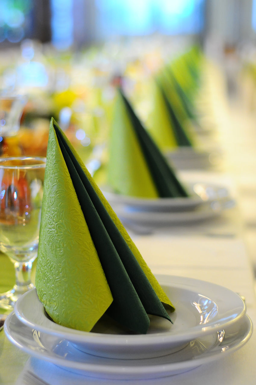 food and drink, plate, food, indoors, focus on foreground, no people, close-up, green color, table, freshness, drinking glass, ready-to-eat, buffet, day
