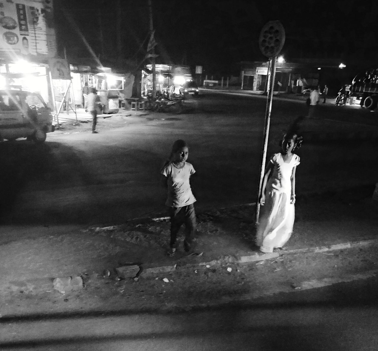 Full Length Childhood Child Children Only Night People One Person Playing Girls Outdoors One Boy Only Adult Black & White Monochrome India Blackandwhite Bnw Nightphotography