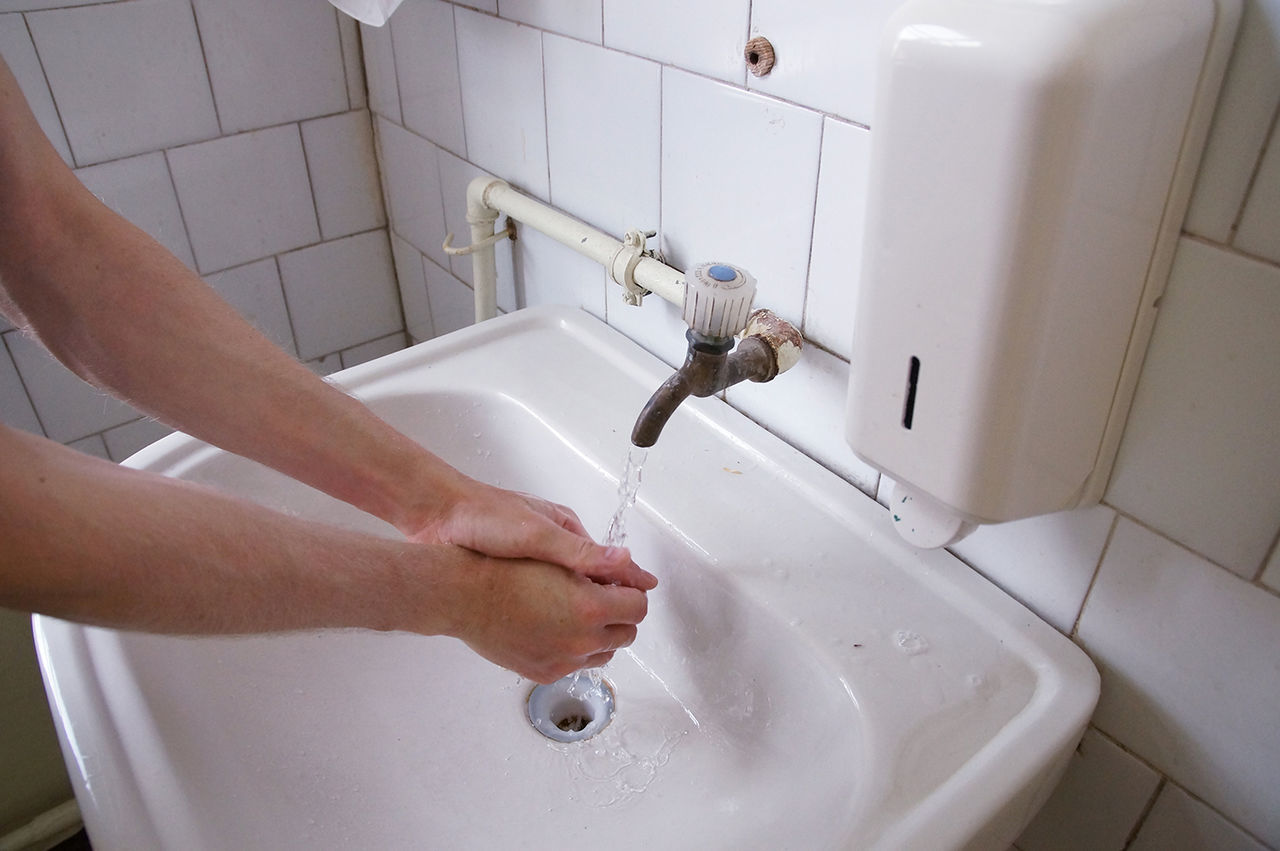 Bathroom Bathroom Sink BYOPaper! Cleaning Close-up Cold Water Day Domestic Bathroom Domestic Room Faucet Human Body Part Human Hand Hygiene Indoors  Intervention Men Motion One Person Real People Running Water Sink Soviet Tap Washing Water