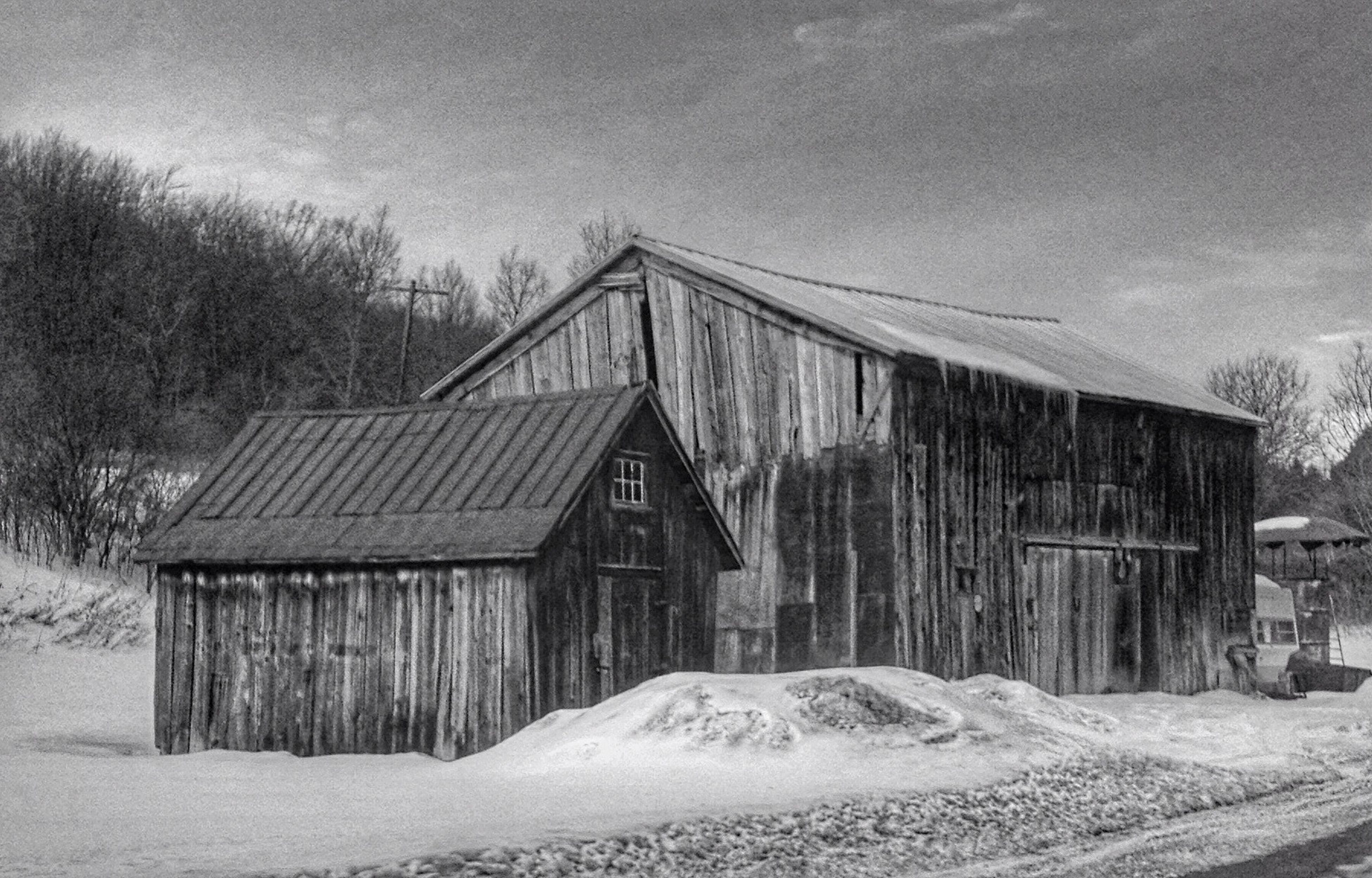 built structure, architecture, cold temperature, abandoned, outdoors, snow, winter, no people, day, barn, building exterior, nature, sky, tree