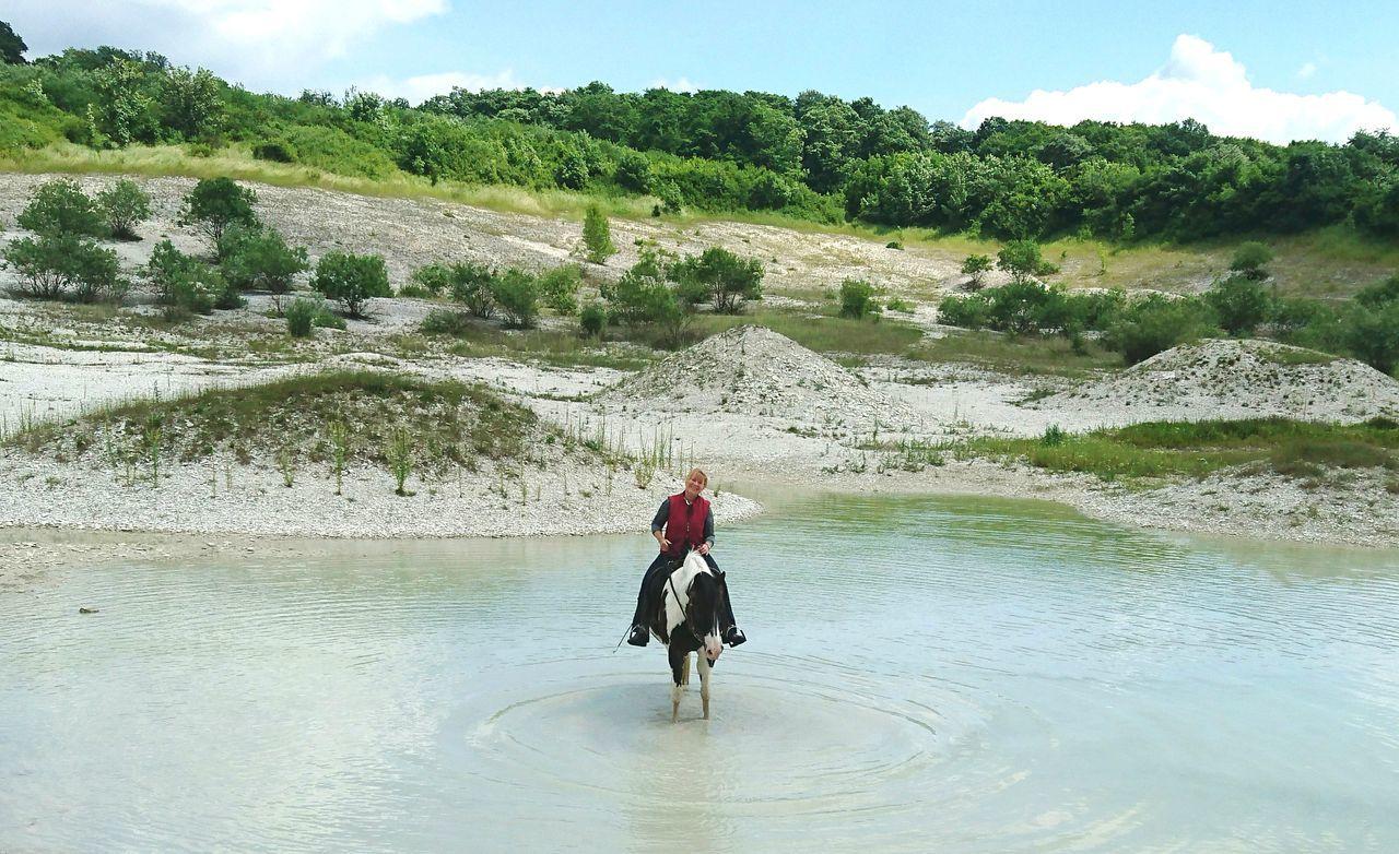 Woman Horseback Riding In Lake