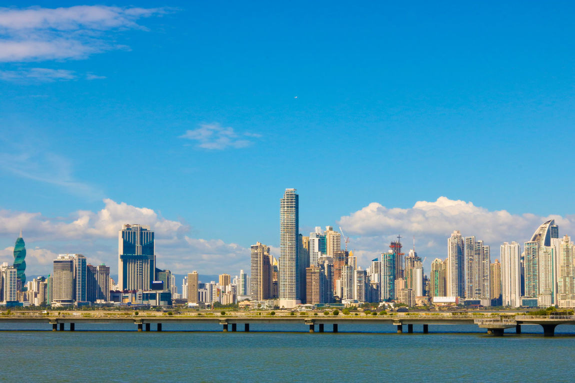 Skyscraper Urban Skyline City Cityscape Architecture Travel Destinations Downtown District Building Exterior Sky Travel Built Structure Cloud - Sky Business Finance And Industry Modern Blue Sea No People Outdoors Harbor Water City Panama City Panama Streetphotographer