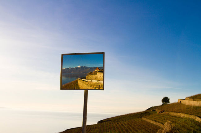 Mirror Reflections Lavaux Panorama Landscape Reflecting In Mirror Mirror Reflechting Landscape Blue Sky Looks Like A Painting