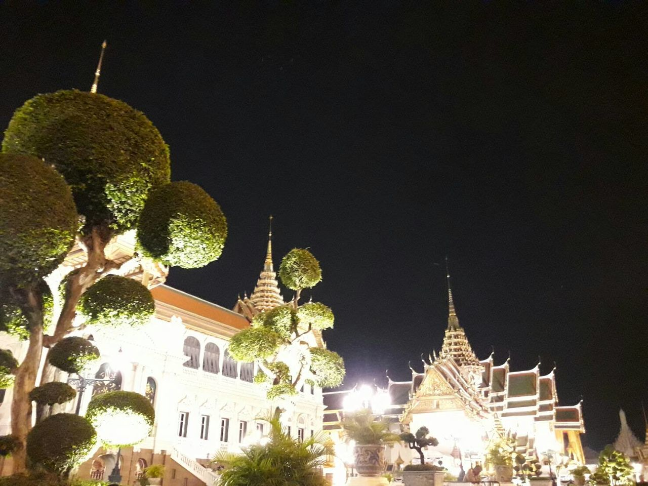 Grand Palace Bangkok Thailand Night Built Structure