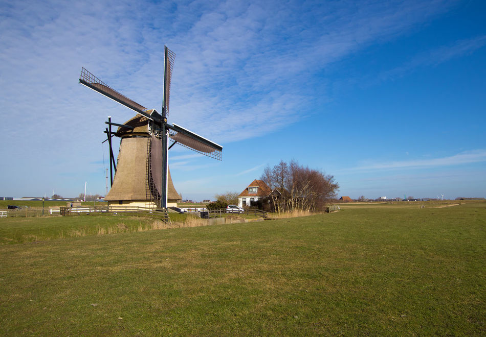 Alternative Energy Blue Cloud Cloud - Sky HollandFRISIAN♡ Frisian Field Grass Grassy Landscape Nature No People Outdoors Renewable Energy Friesland Sky Traditional Windmill Tranquil Scene Tranquility Water Pump Wind Power Wind Turbine Windmill Workum