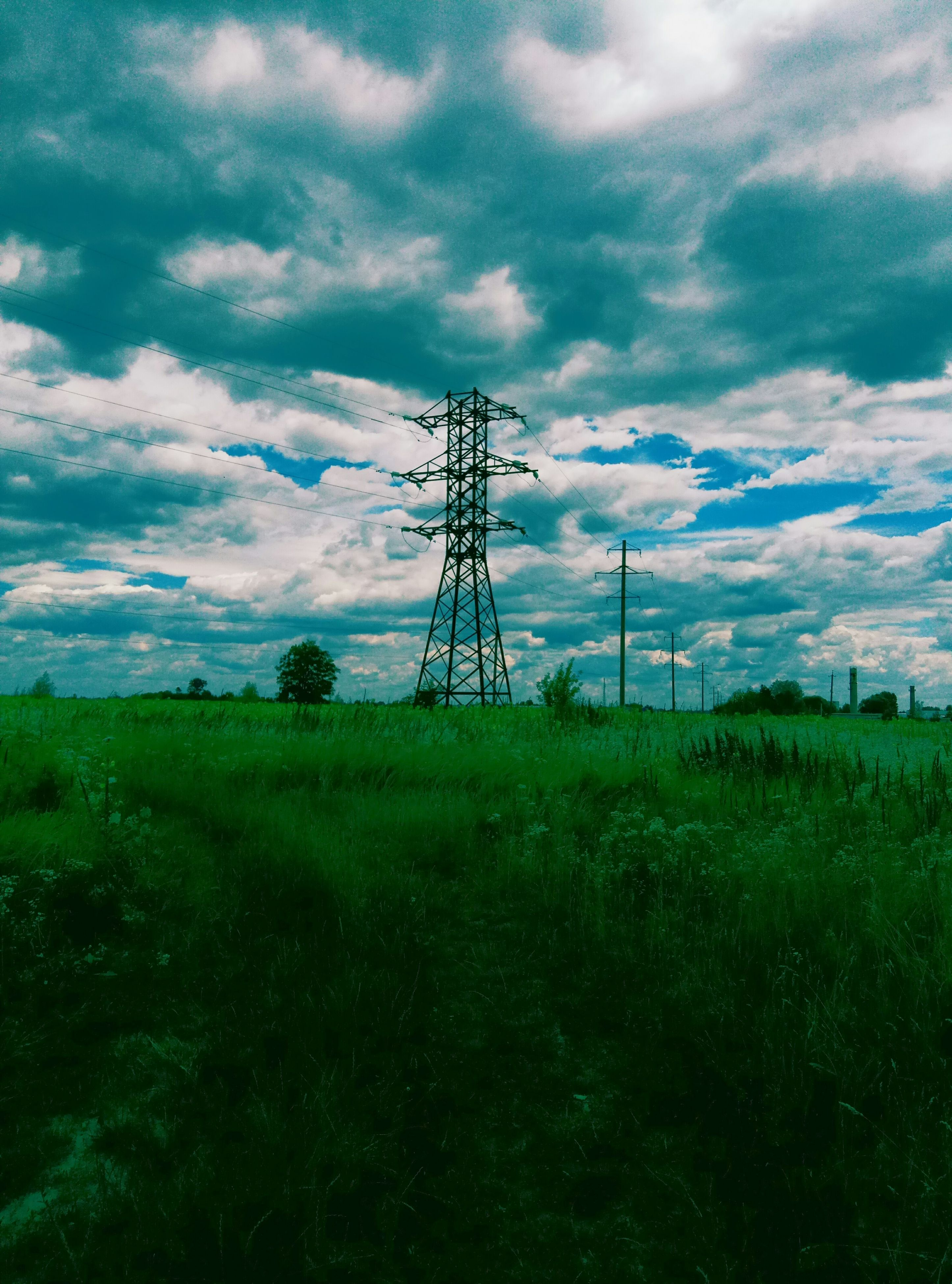 cloud - sky, electricity, sky, grass, field, connection, electricity pylon, fuel and power generation, landscape, technology, cable, no people, nature, growth, tree, day, outdoors