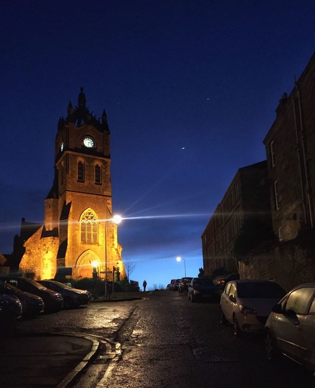 Learn & Shoot: After Dark Church Dog Walker Church Tower Dark Sky Church Clock Lit Church Church At Night  Parked Cars Wet Street Refelctions
