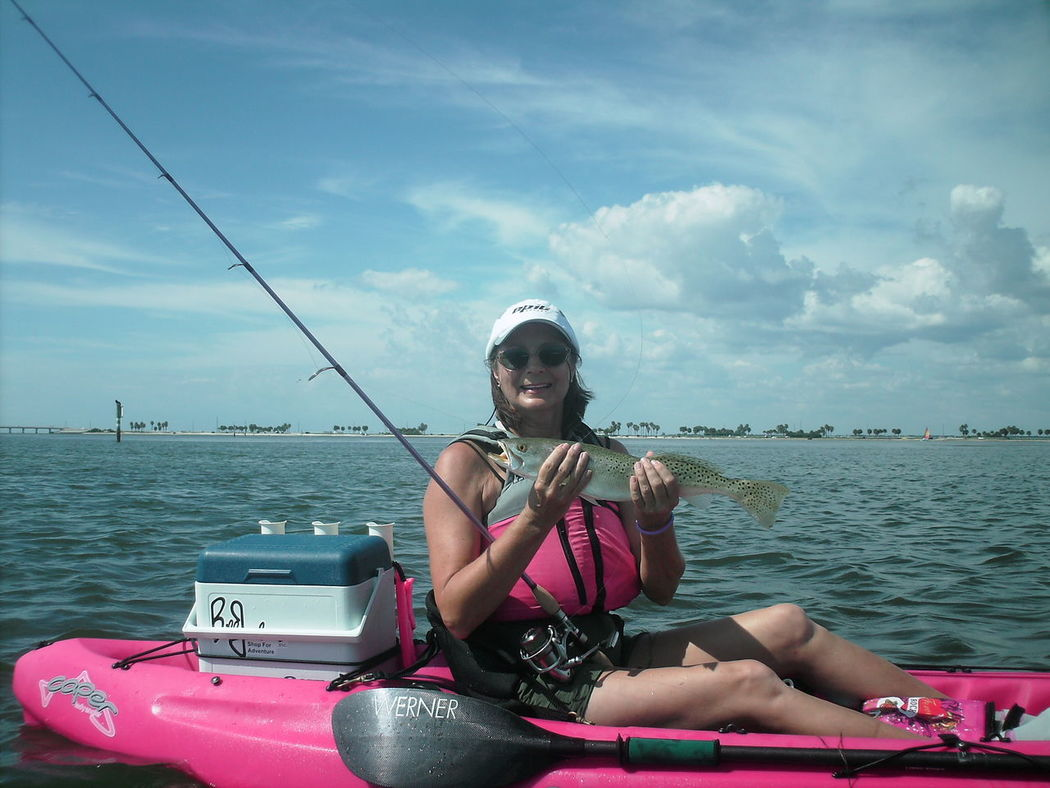 Kayak Fishing Kayaker Fishing Sportswoman Power Of Pink Weekend Activities Female Adult Fish Fisherman Kayak Kayaking Watersports Weekend Warrior Florida Life Female Weekend Warriors Catch Of The Day Florida Fishing People Real People Women Around The World