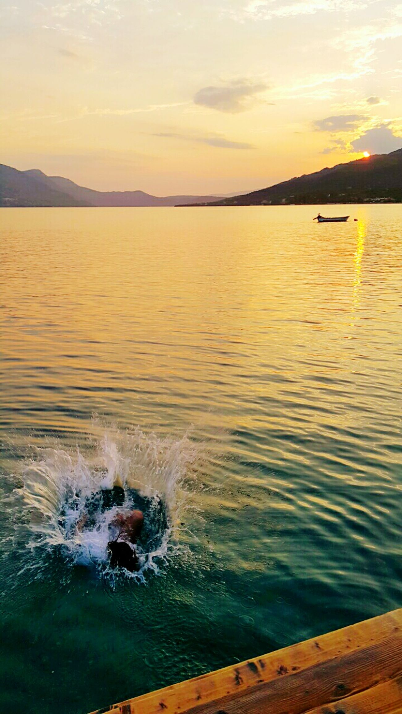 Jump Jumping Boat Boats Water Relaxing Hi! That's Me Enjoying Life Clouds Hanging Out Fresh Likeforlike Like4like Sky Sea And Sky Sea Water Reflections Sunset Clouds And Sky Orange Sky Greece Sea View Fresh AF Waves