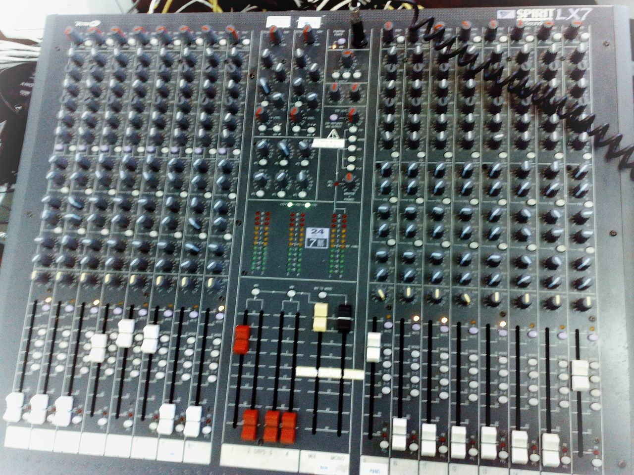 No People Day Indoors  Backgrounds Close-up Mixer Desk Mixers Mixer Control Panel Spirit Lx7 Knobs And Dials Faders GeekPhotography Technology