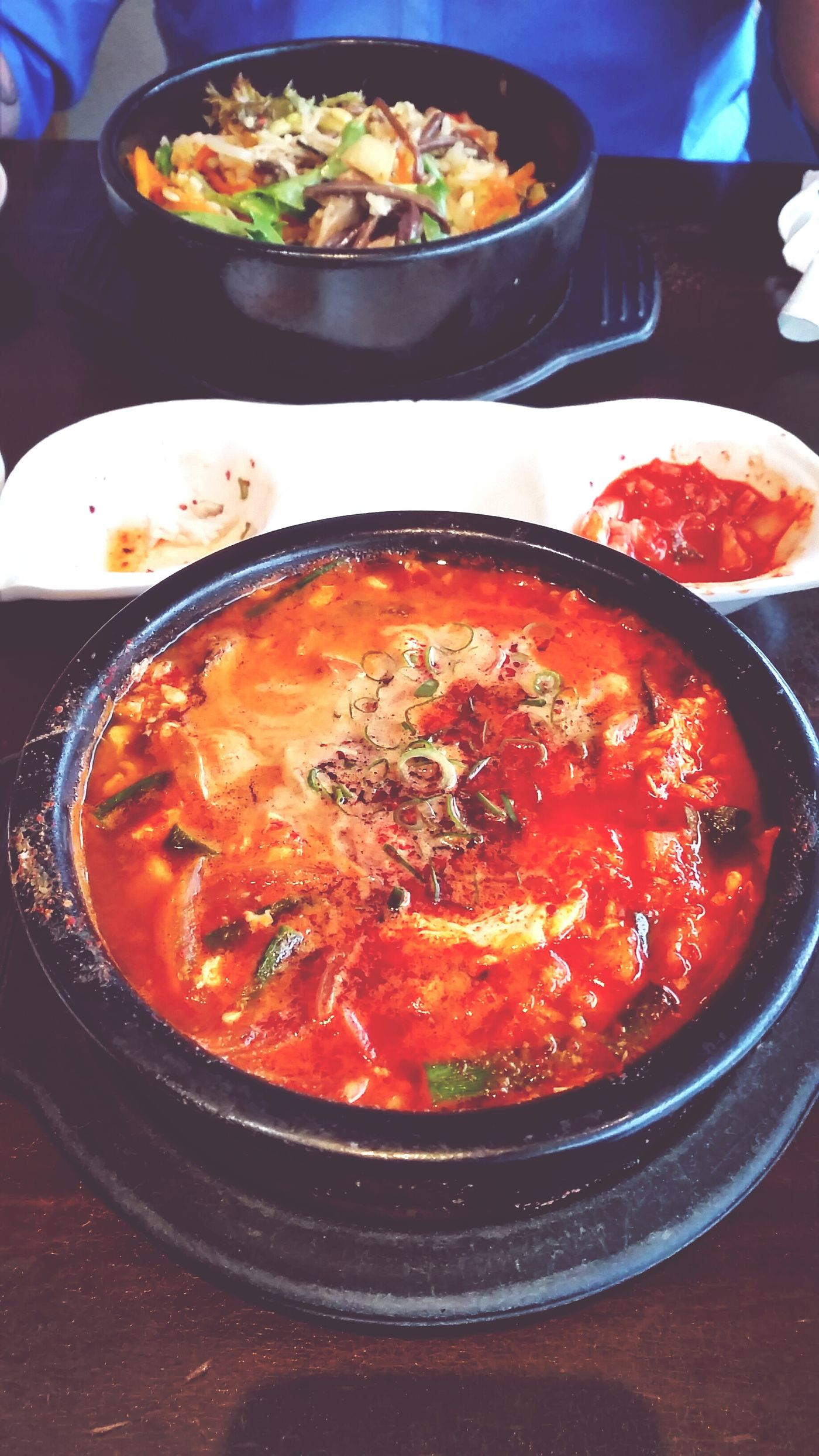 A patient threatened to kill me today, so Jen bought me Spicy Korean Tofu Soup. A good trade. Korean Food Yum Arirang