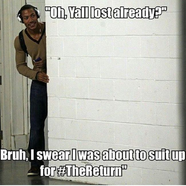 Lmao y'all leave that man alone and let him heal, but this is funny Thereturn DerrickRose
