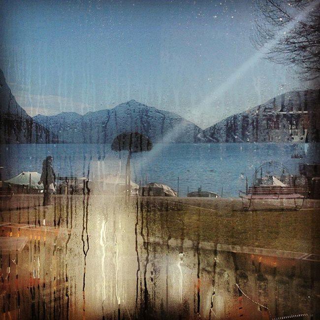 The Lake on the Window . Lugano Reflection Sun Travelling Offsetartist