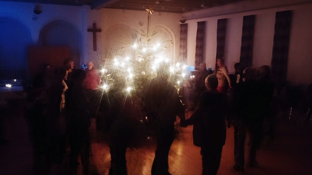 Christmas Around The World Dance Christmas Tree Family and Friends in Messiahchurch Christianity Church Candels Young and Old