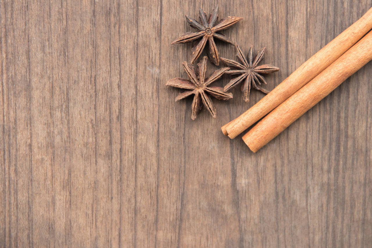 wood - material, star anise, spice, anise, food and drink, close-up, stick - plant part, no people, food, day